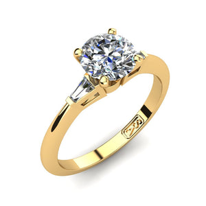 18kt Yellow Gold, Solitaire Setting with Baguette Accent Stones