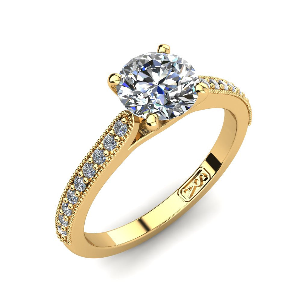 18kt Yellow Gold, Solitaire Setting with Grain set Accent Stones