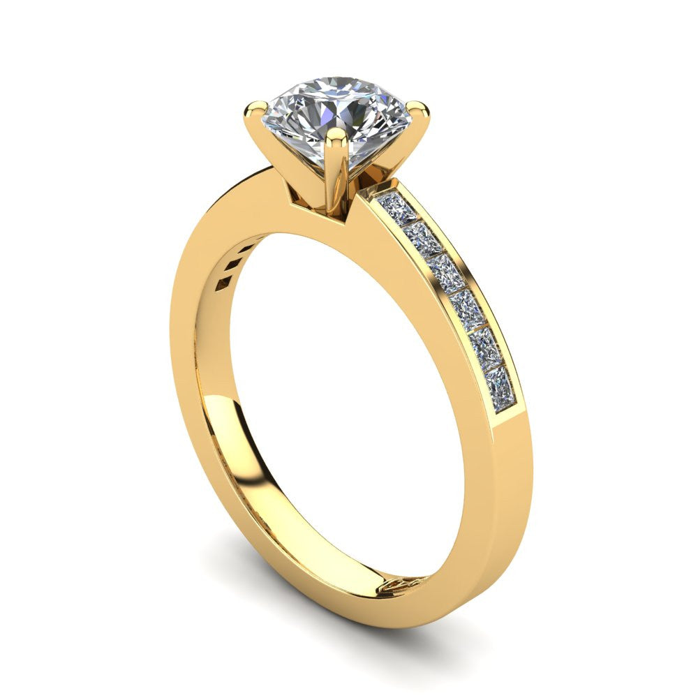 18kt Yellow Gold, Solitaire Setting with Channel set Accent Stones