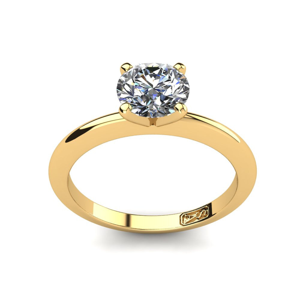 18kt Yellow Gold, Solitaire Setting with Knife Edge Band
