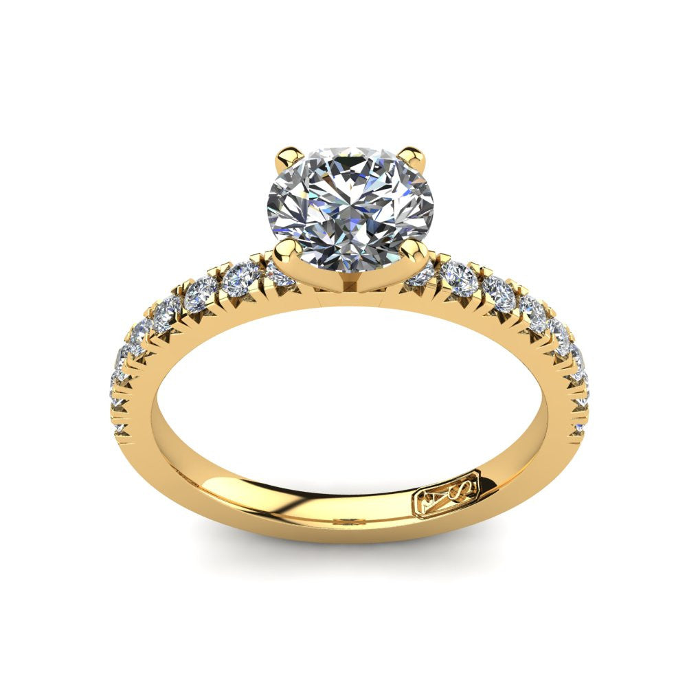 18kt Yellow Gold, Solitaire Setting with Claw set Accent Stones