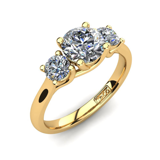 18kt Yellow Gold, Trilogy Setting with Half Round Band