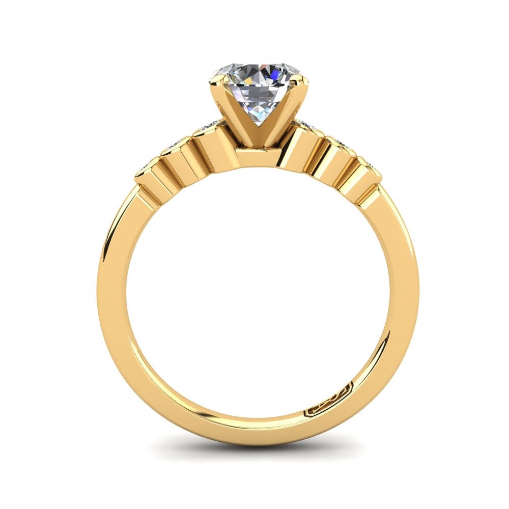 18kt Yellow Gold, Solitaire Setting with Bezel set Accent Stones