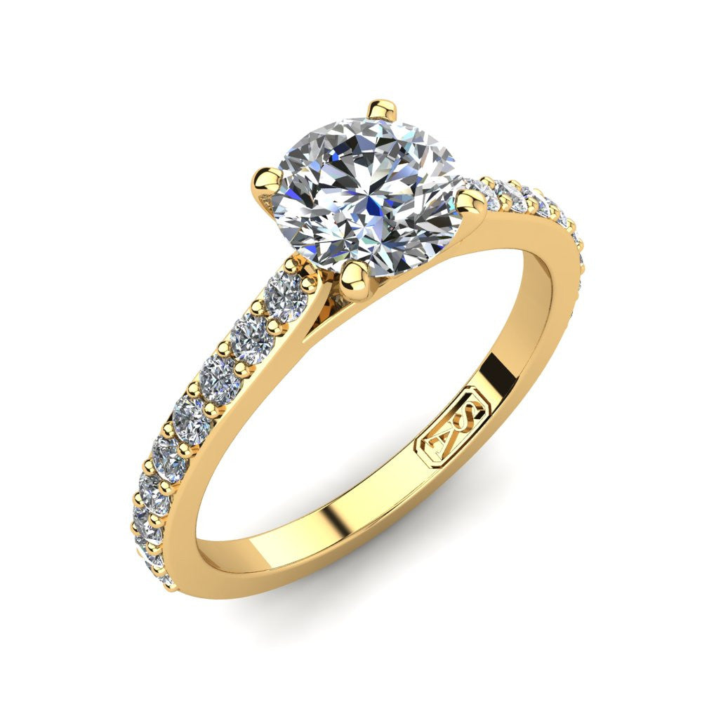 18kt Yellow Gold, Solitaire Setting with Shared Claw set Accent Stones
