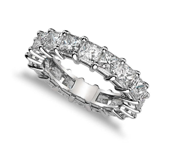 Princess Cut Claw Set Eternity Band