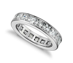 Princess Cut Channel Set Eternity Band