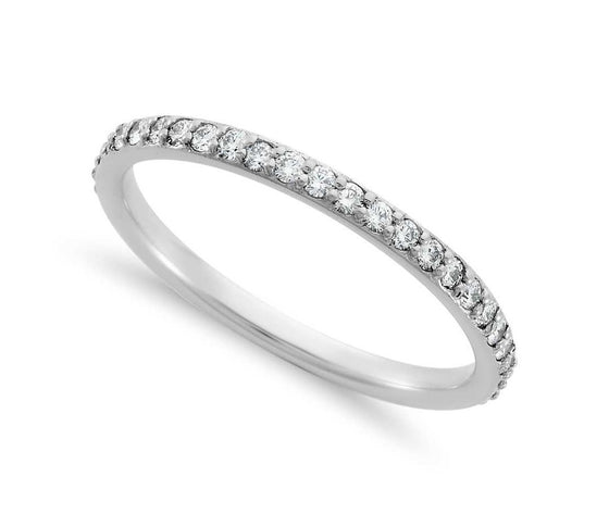 Round Brilliant Shared Claw Eternity Band