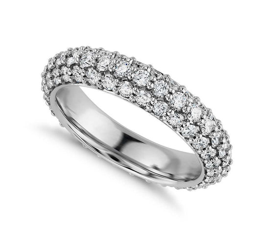 Round Brilliant 3 Row Pave Set Eternity Band