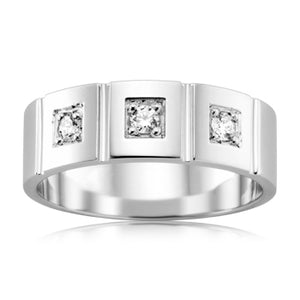 Vertical Channel Diamond Mens Ring