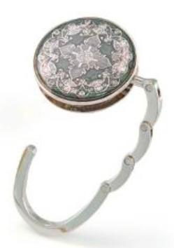 Handbag holder with built-in compact mirror