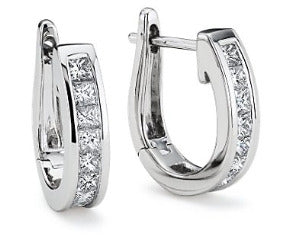 Princess-Cut Hoop Diamond Earrings in 18k White Gold (1/2 ct. tw.)