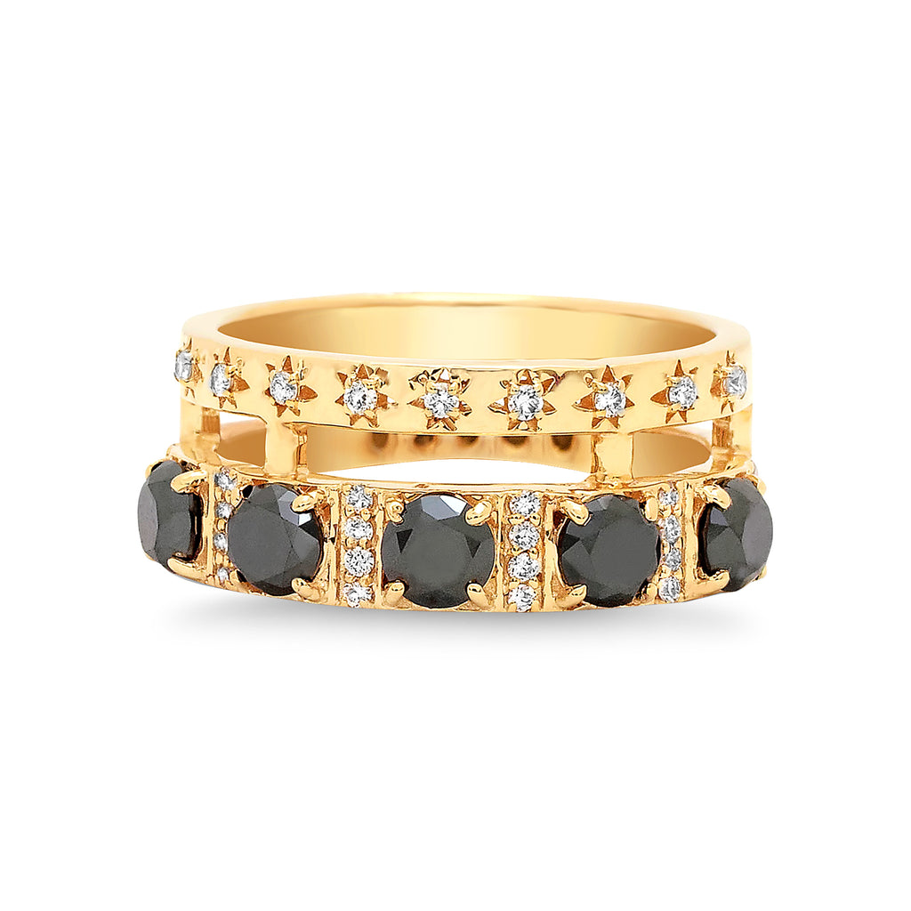 Diamond Double Band Black Diamond Bezel Ring