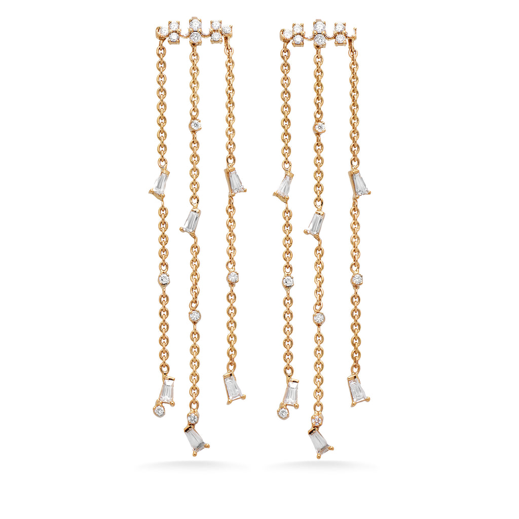 Diamond Baguette Chain Earrings