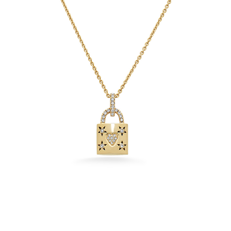 Diamond Heart Starburst Lock Necklace