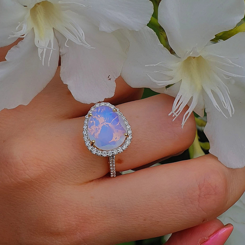 Diamond Single Band Moonstone Ring