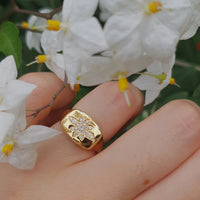 Diamond Signet Flower Ring