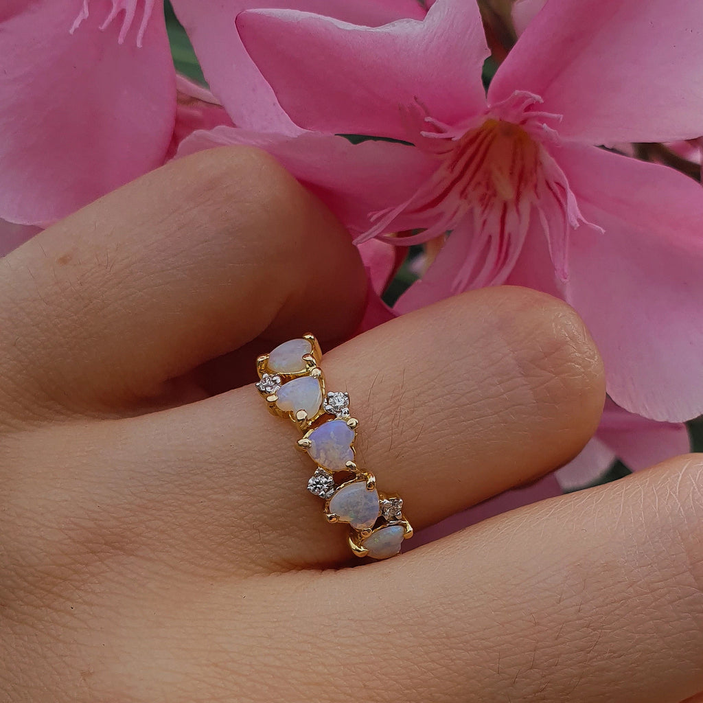 Diamond Clustered Opal Hearts Ring