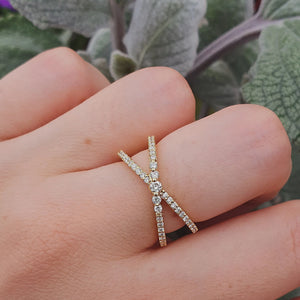 White Diamond Double Band Ring