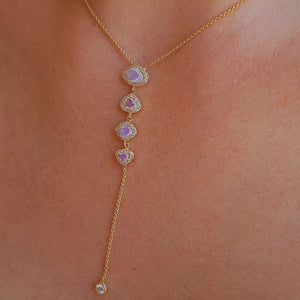 Diamond Four Moonstone Lariat Drop Necklace