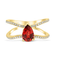 Diamond Double Band Teardrop Floating Red Garnet Ring