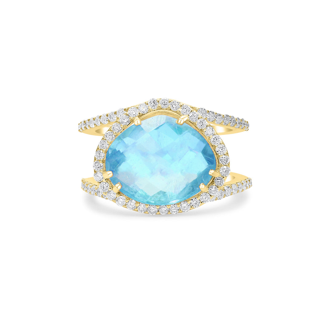 Diamond Double Band Organic Aquamarine Ring