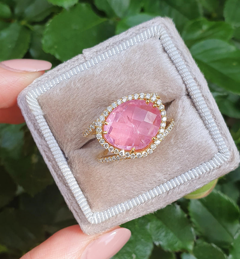 Diamond Double Band Pink Tourmaline Ring