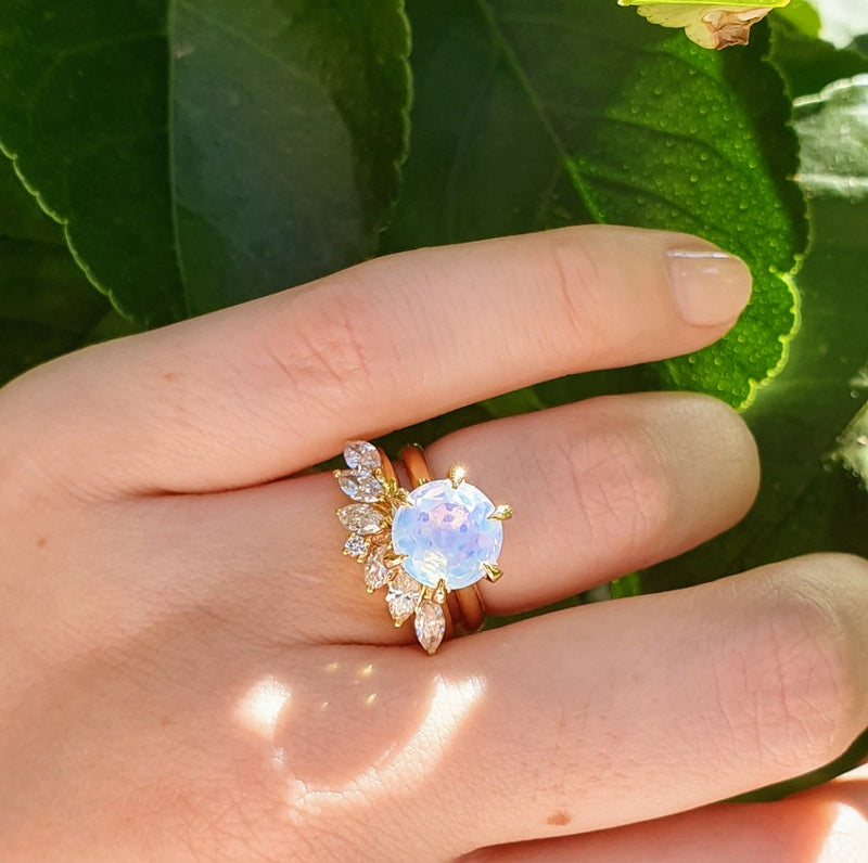 Diamond Solitaire Moonstone Engagement Ring