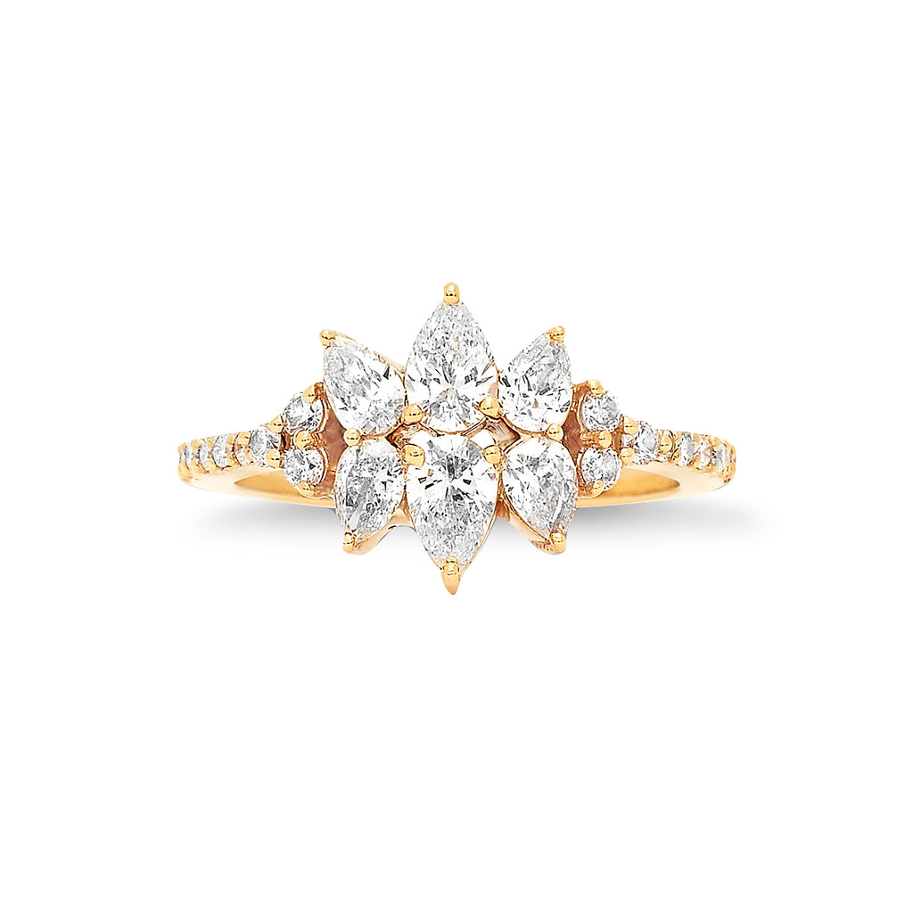 White Diamond Pear Cut Flower Ring