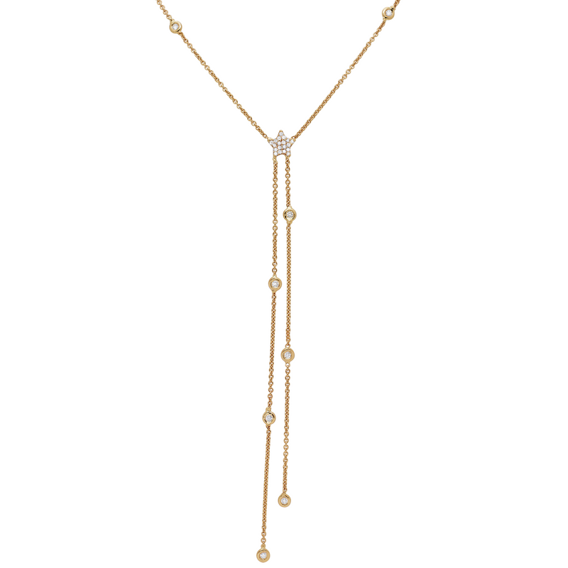 Diamond Star Bezel Lariat Necklace