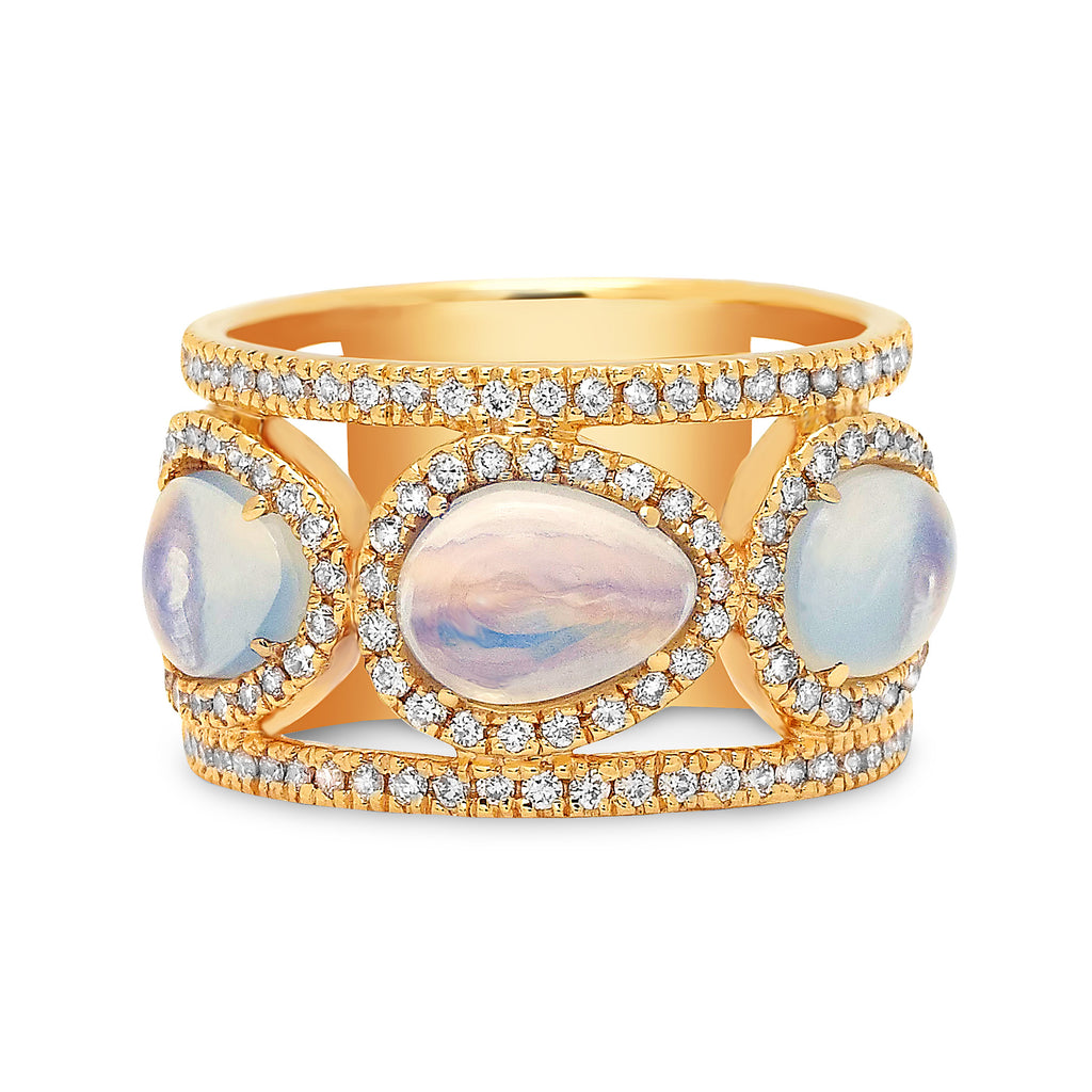 Diamond Double Band Three Mini Moonstones Ring