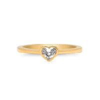 White Diamond Solitaire Heart Ring