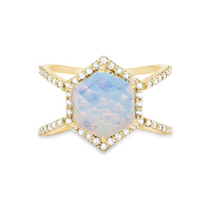 Diamond Double Band Moonstone Hex Ring