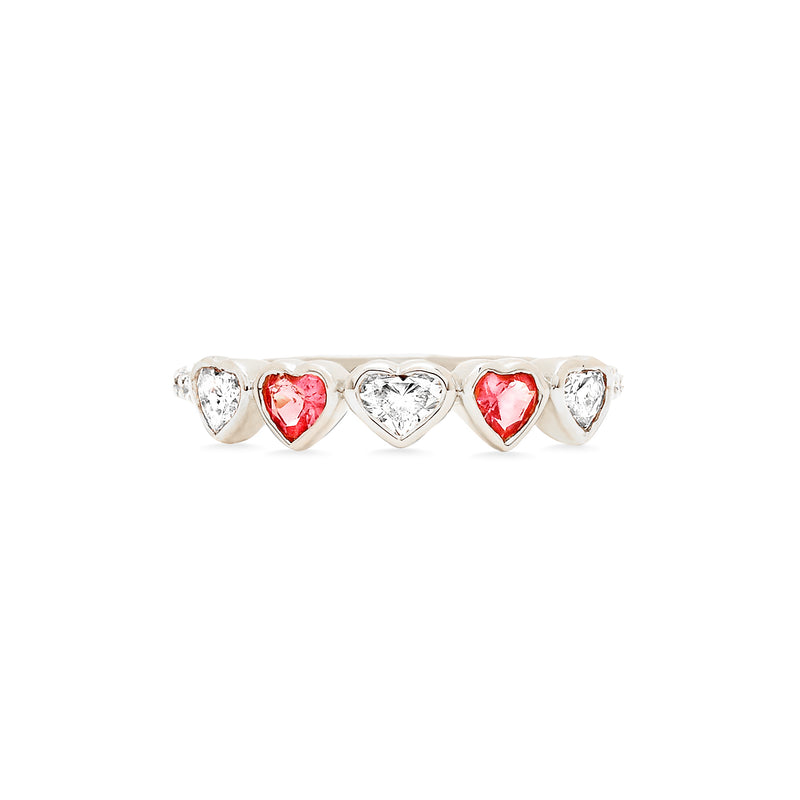 Diamond and Pink Tourmaline Heart Ring