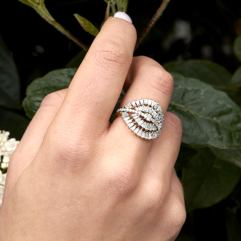 White Diamond Feathered Baguette Ring