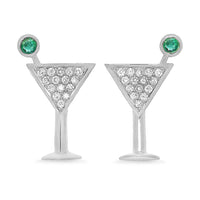 Diamond Emerald Martini Studs
