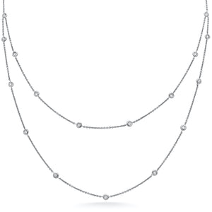 White Diamond Bezel Necklace