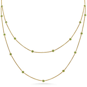 Double Row Emerald Bezel Necklace