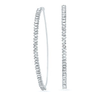 White Diamond Meduim Baguette Hoops