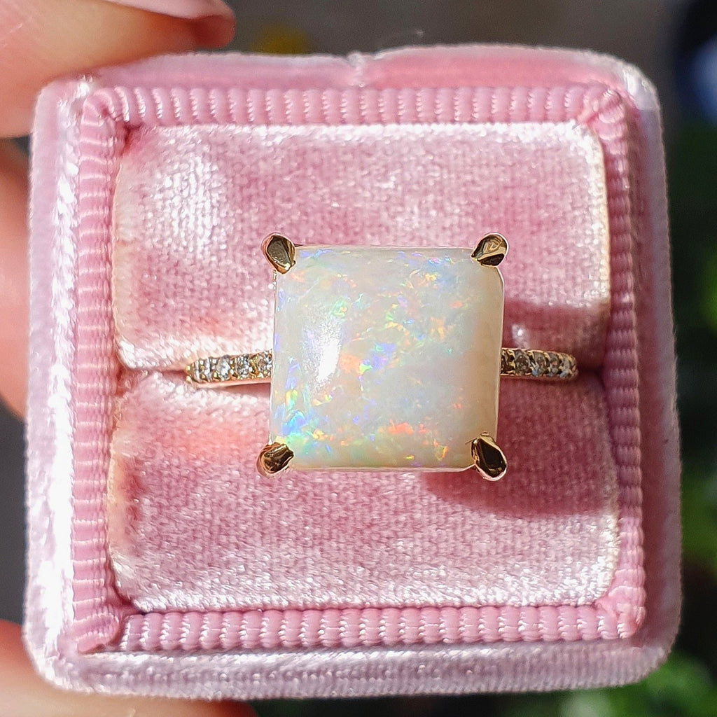 Diamond Cushion Solitaire Opal Ring