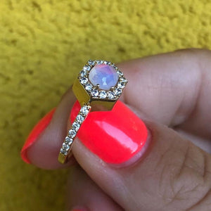 Diamond Moonstone Hex Ring