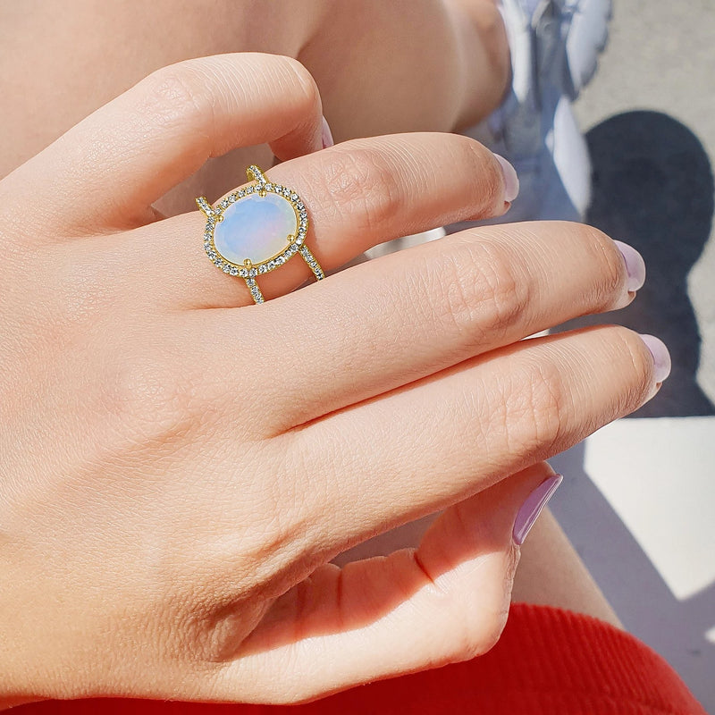 Diamond Double Band Moonstone Oval Ring