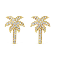 Diamond Palm Tree Hoops