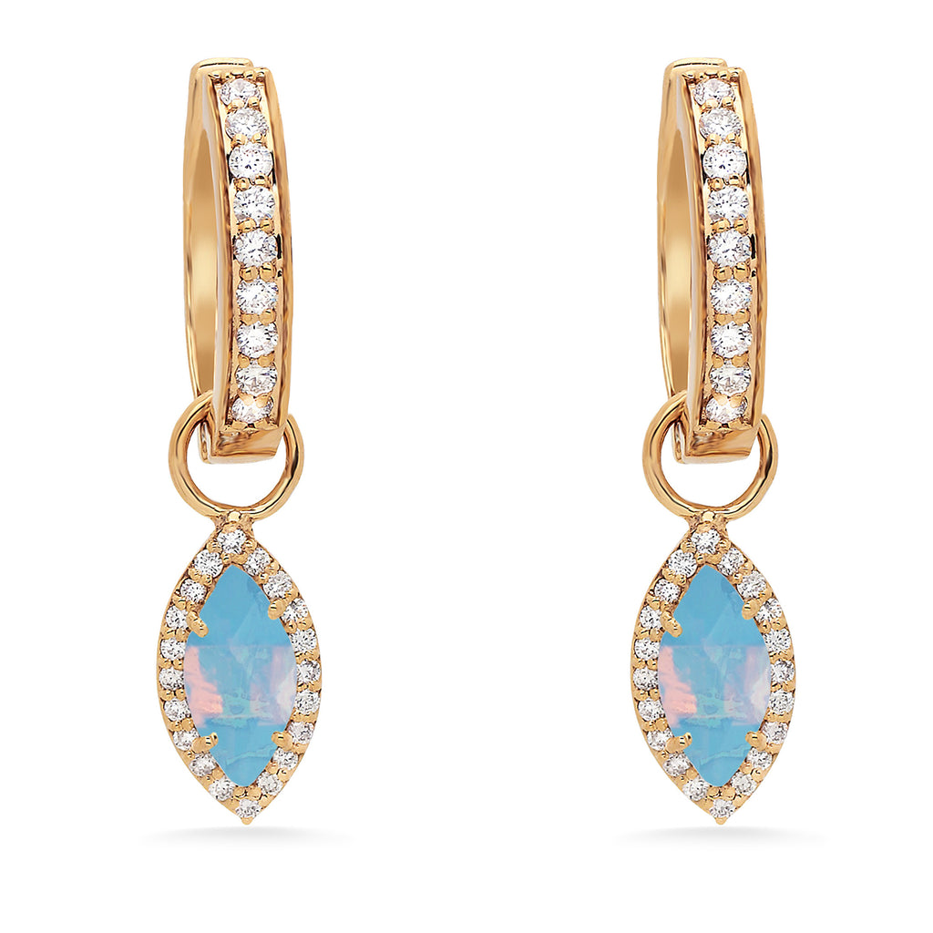 Diamond Moonstone Marquee Charm Hoops