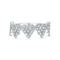 White Diamond Five Hearts Ring