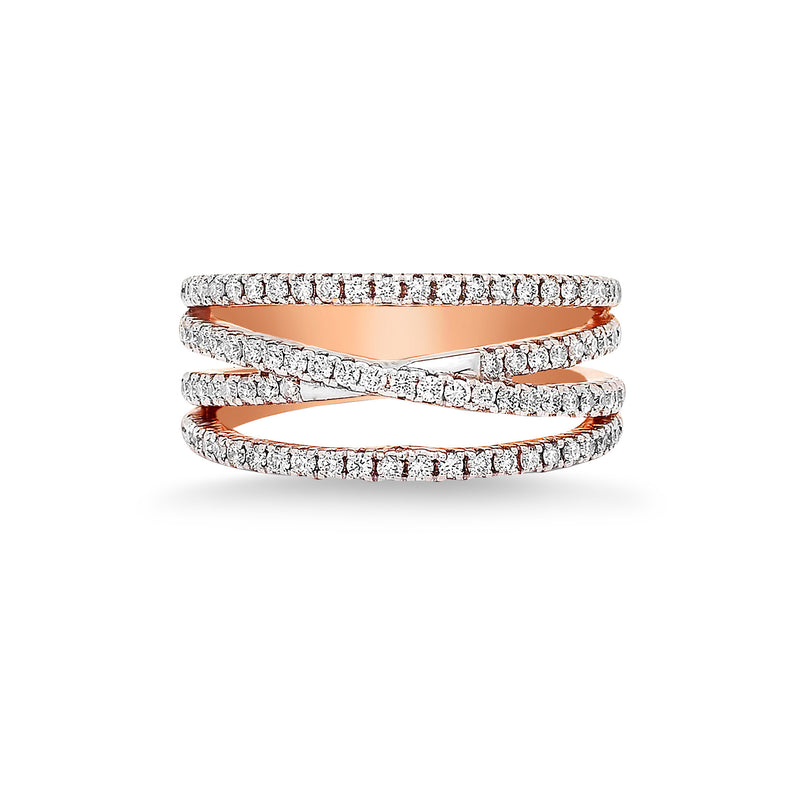 White Diamond Intertwined Bands Ring