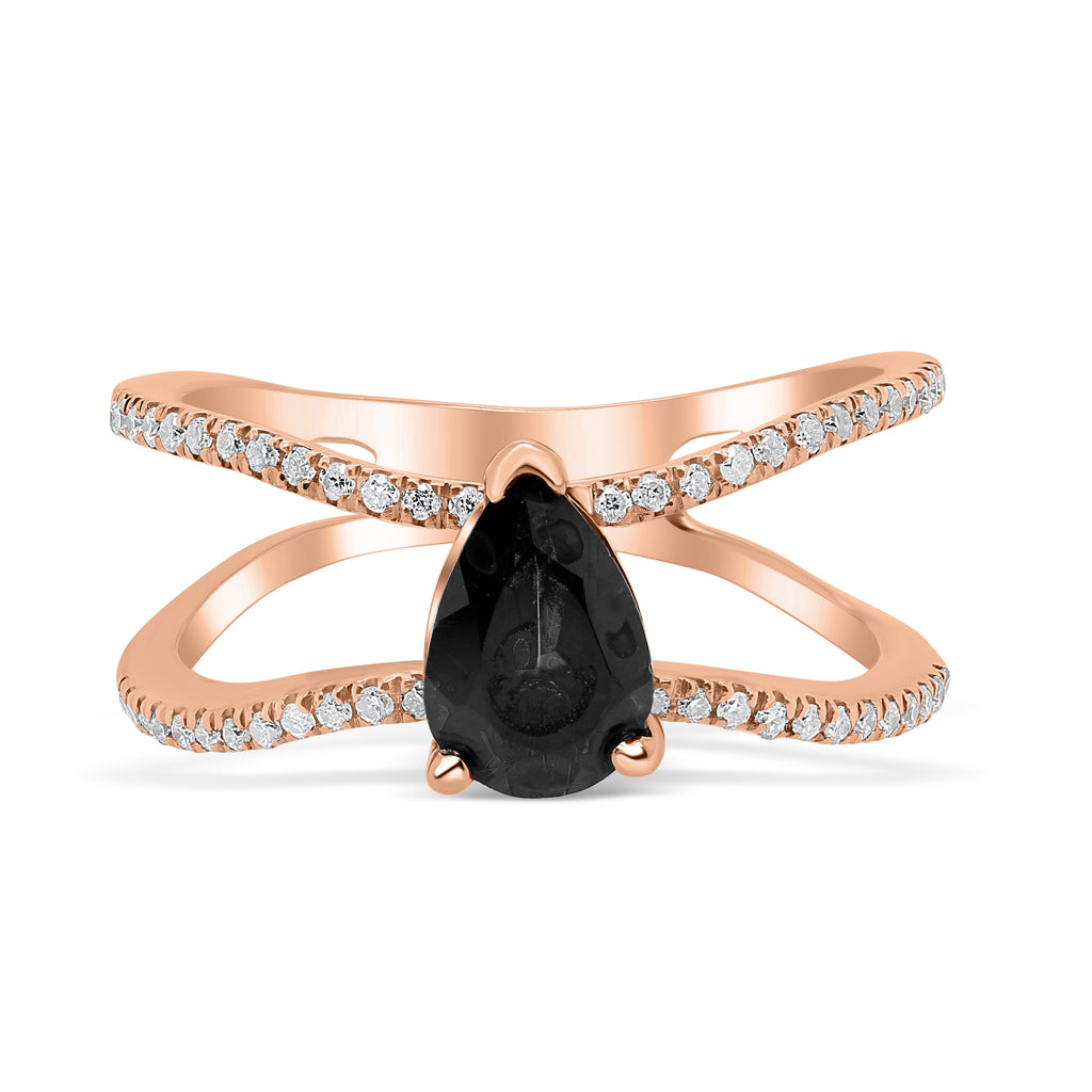 Diamond Double Band Teardrop Black Spinel Diamond Ring