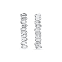 Diamond Clustered Baguette Row Studs