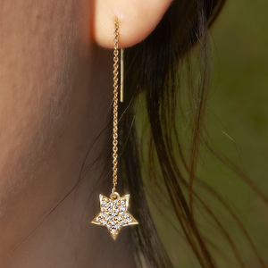 Diamond Star Lariat Earrings