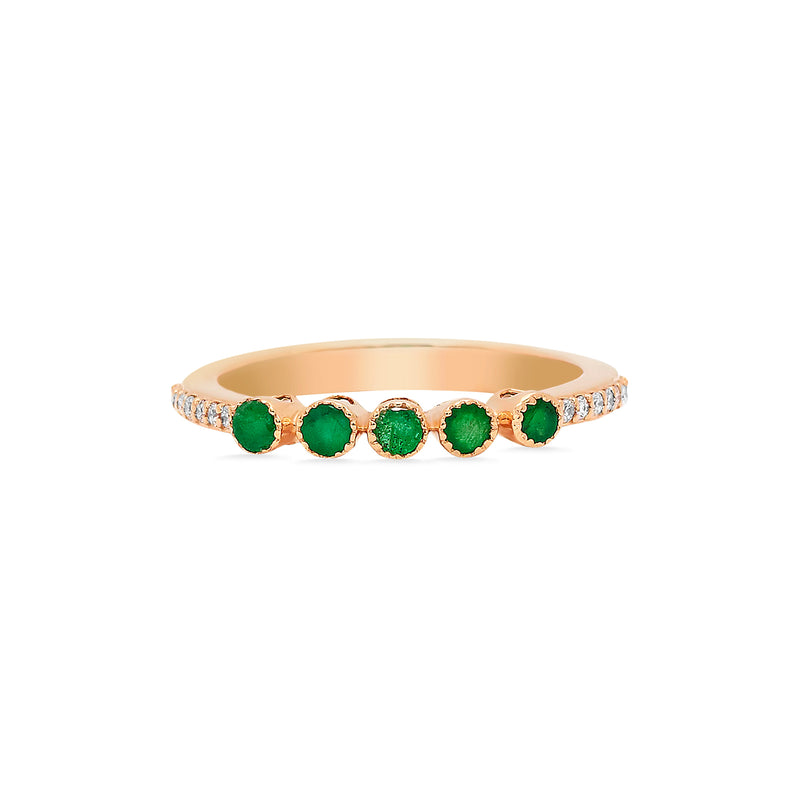 Diamond Five Emeralds Bezel Ring