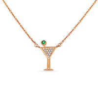 Diamond Martini Emerald Necklace
